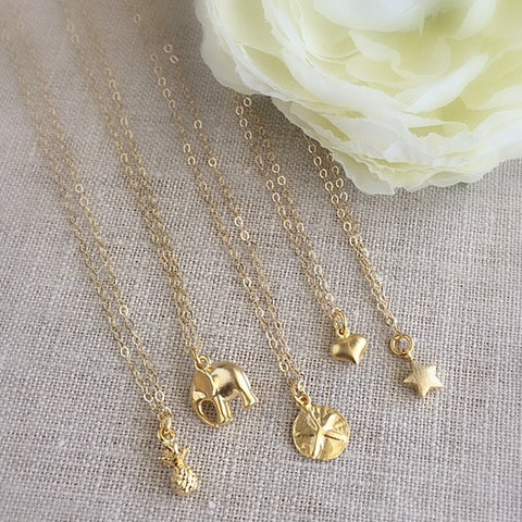 Mini Gold Charm Necklace