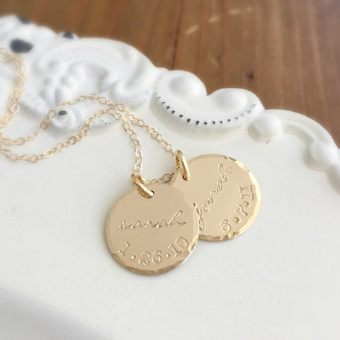 Gold Name & Birthdate Necklace