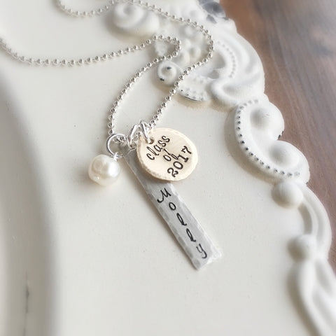 Name & Year Graduation Necklace