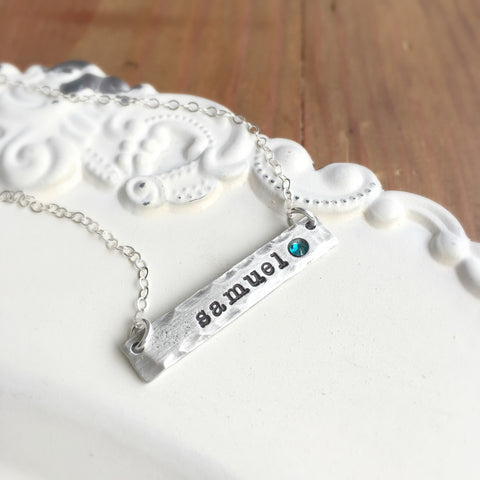Pewter Birthstone Bar Necklace