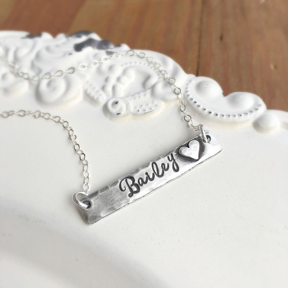 Pewter Bar Necklace