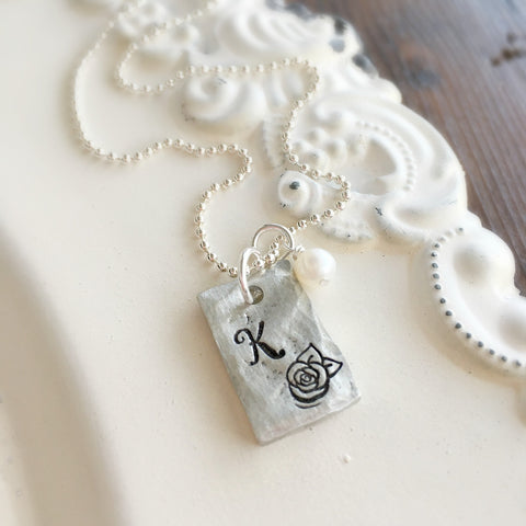 Initial & Rose Pewter Necklace