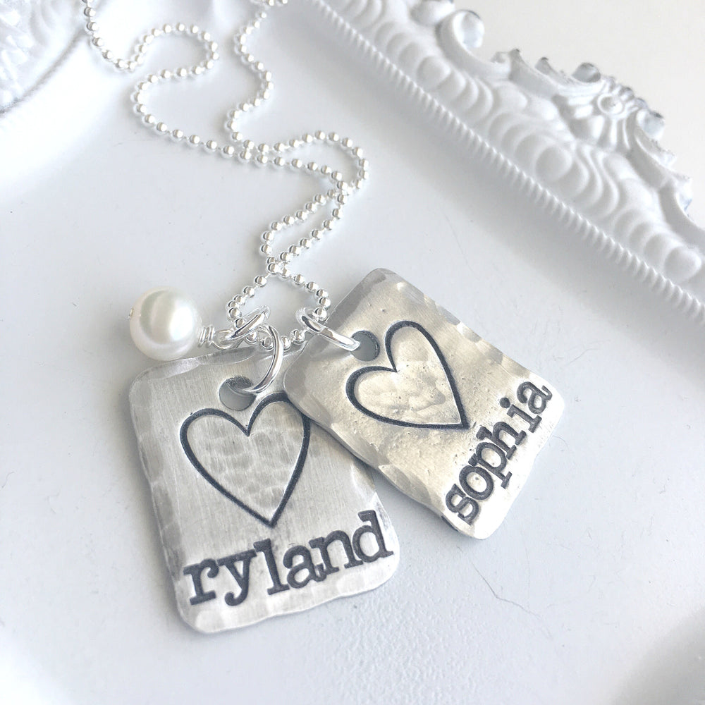 Large Heart & Name Squared Necklace