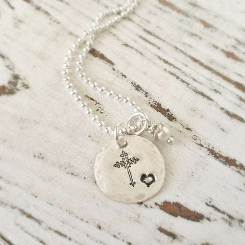 Silver Cross & Mini Heart Necklace