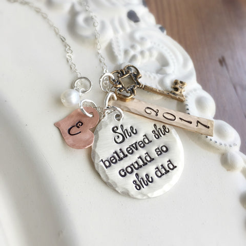 She Believed Graduation Necklace