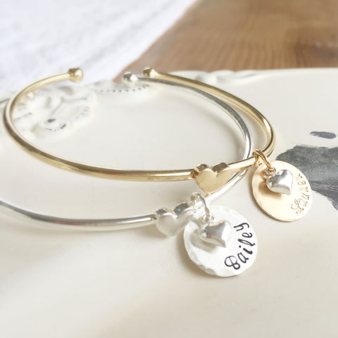 Personalized Heart Bangle
