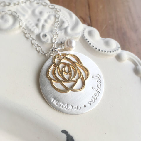 Silver and Gold Rose Necklace