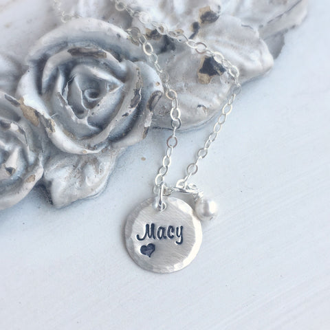 Petite Name & Heart Necklace