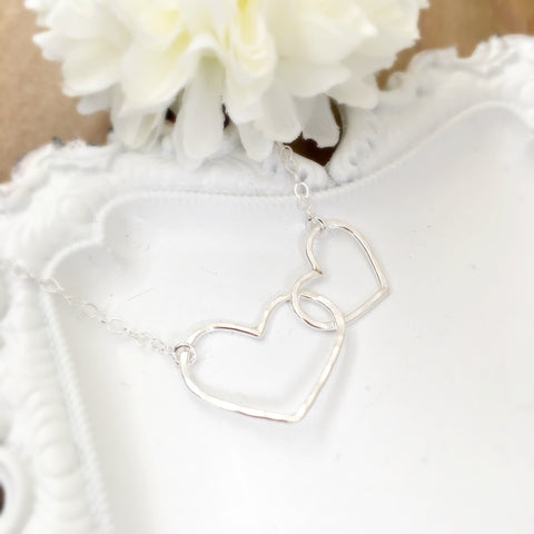 Silver Linked Hearts Necklace