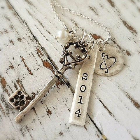 Personalized Vintage Graduation Necklace
