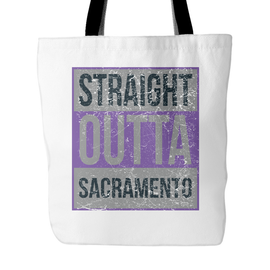 Straight Outta Sacramento Basketball Tote Bag, 18 in x 18 in