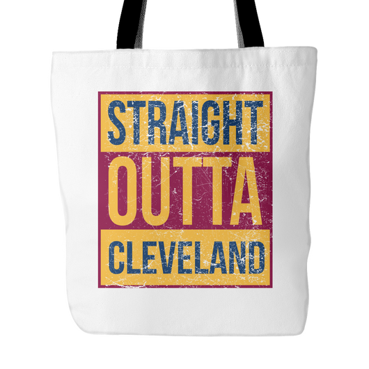 Straight Outta Cleveland Basketball Tote Bag, 18 inch x 18 inch