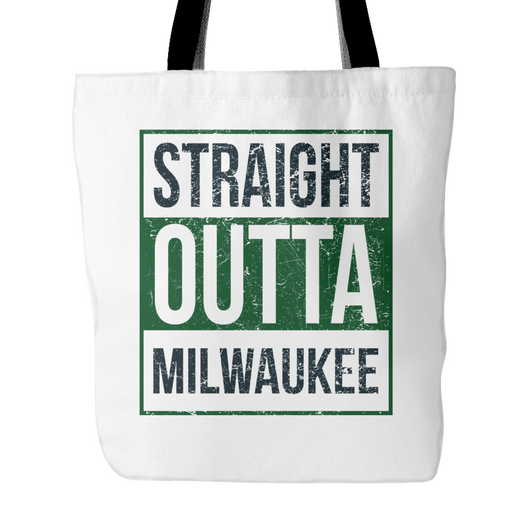 Straight Outta Milwaukee Basketball Tote Bag, 18 inch x 18 inch