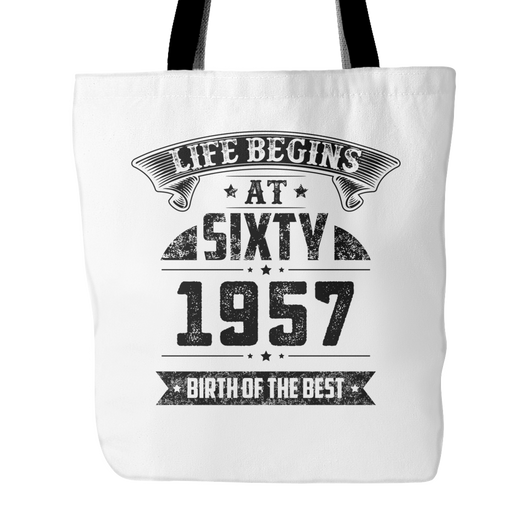 Life Begins At Sixty Tote Bag, 18 inches x 18 inches