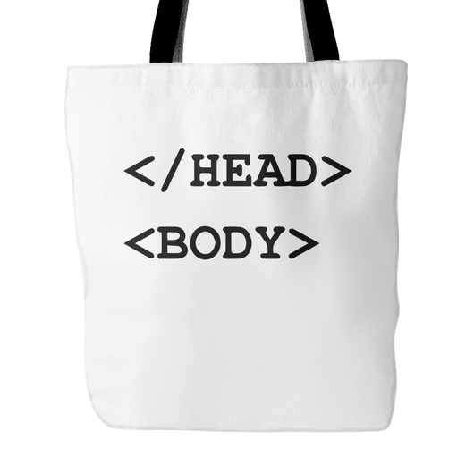 Head Body Tote Bag, 18 inches x 18 inches