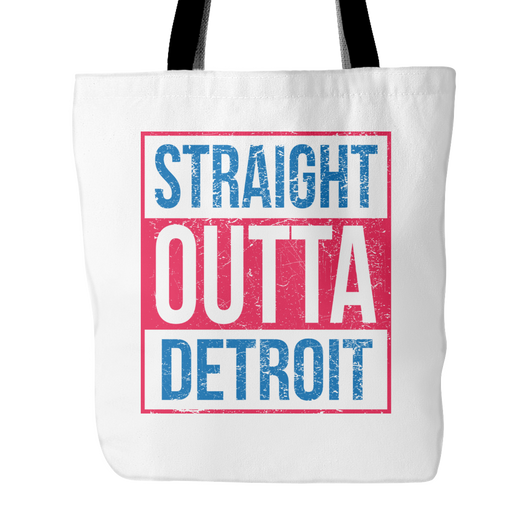 Straight Outta Detroit Basketball Tote Bag, 18 inches x 18 inch