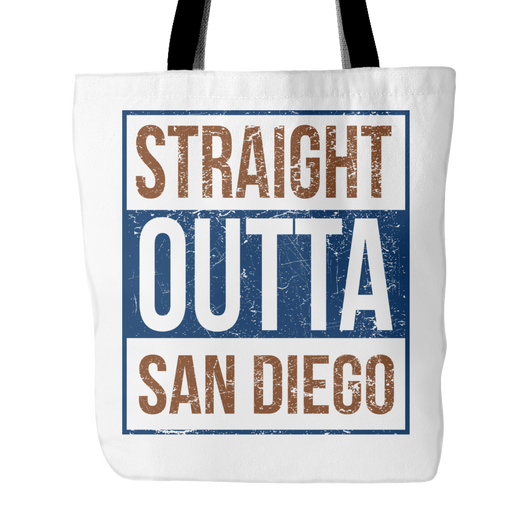 Straight Outta San Diego Baseball Tote Bag, 18