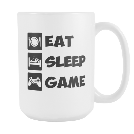 Eat Sleep Game Coffee Mug, 15 Ounce