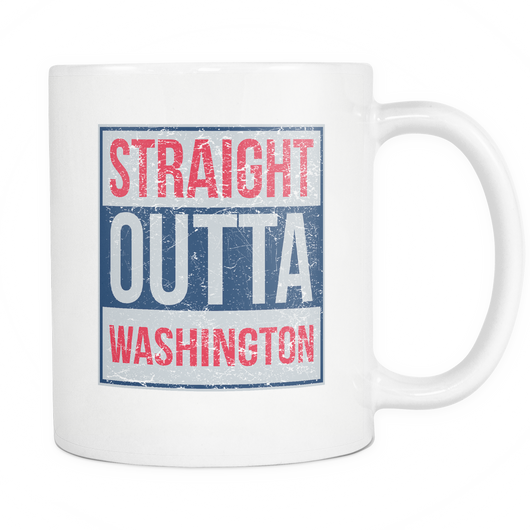 Straight Outta Washington Basketball Coffee Mug, 11 Ounce