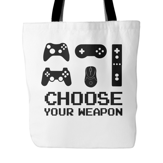 Choose Your Weapon Tote Bag, 18