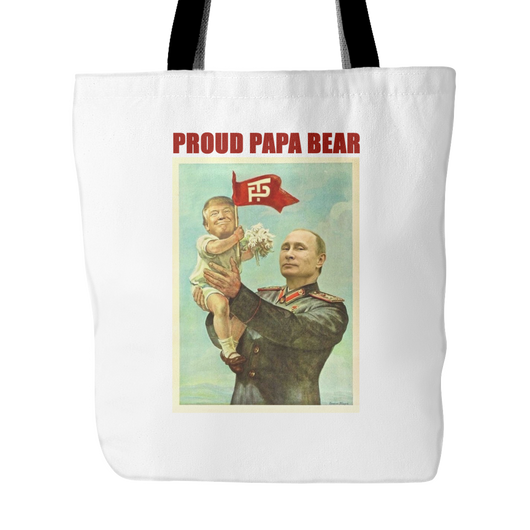 Papa Bear Putin and Trump Tote Bag, 18 inches x 18 inches