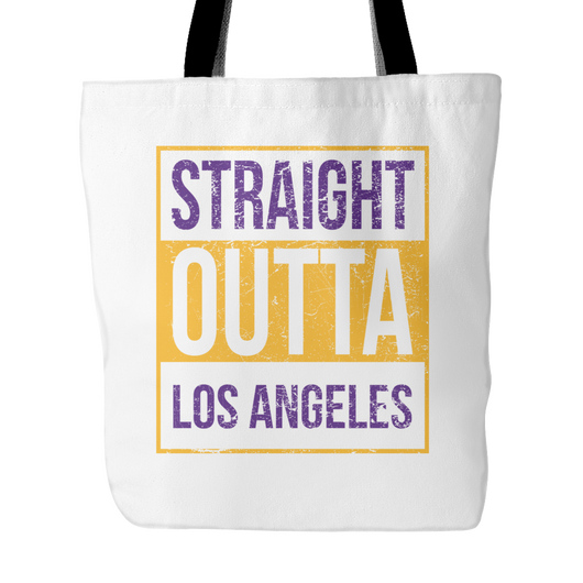 Straight Outta Los Angeles 2 Basketball Tote Bag, 18 in x 18 in