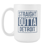 Straight Outta Detroit Baseball Coffee Mug, 15 Ounce