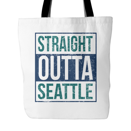 Straight Outta Seattle Baseball Tote Bag, 18