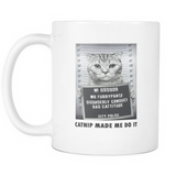 Catnip Made Me Do It Coffee Mug, 11 Ounce
