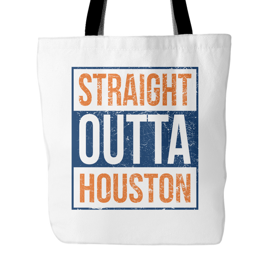 Straight Outta Houston Baseball Tote Bag, 18