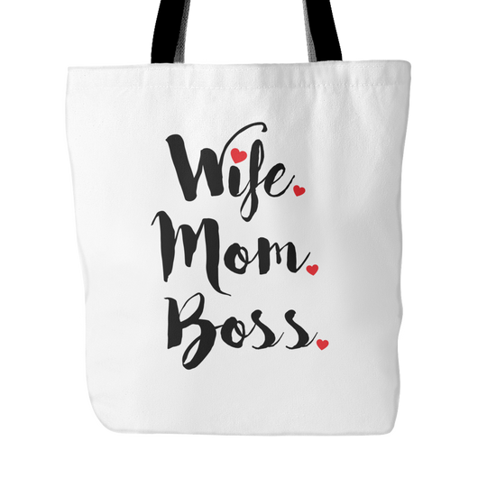 Wife Mom Boss Tote Bag, 18 inches x 18 inches