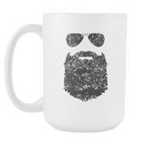 Beard And Sunglasses Coffee Mug, 15 Ounce