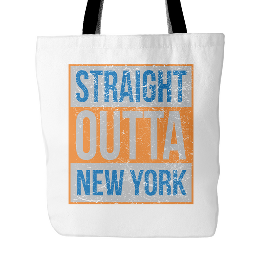 Straight Outta New York Basketball Tote Bag, 18 inch x 18 inch