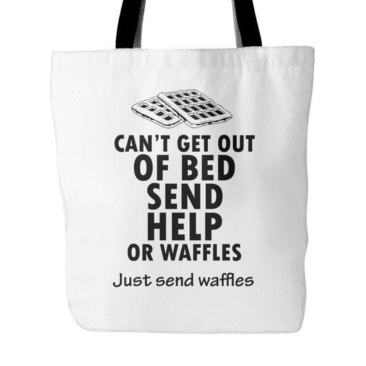 Send Help Or Waffles Tote Bag, 18