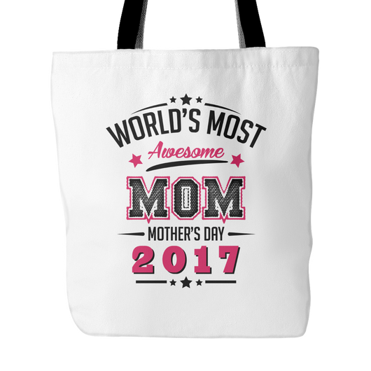 World's Most Awesome Mom Tote Bag, 18 inches x 18 inches