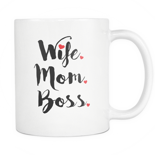 Wife Mom Boss Coffee Mug, 11 Ounce