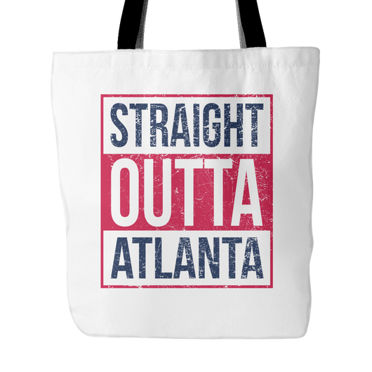 Straight Outta Atlanta Baseball Tote Bag, 18