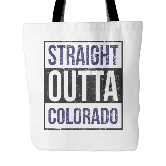Straight Outta Colorado Baseball Tote Bag, 18