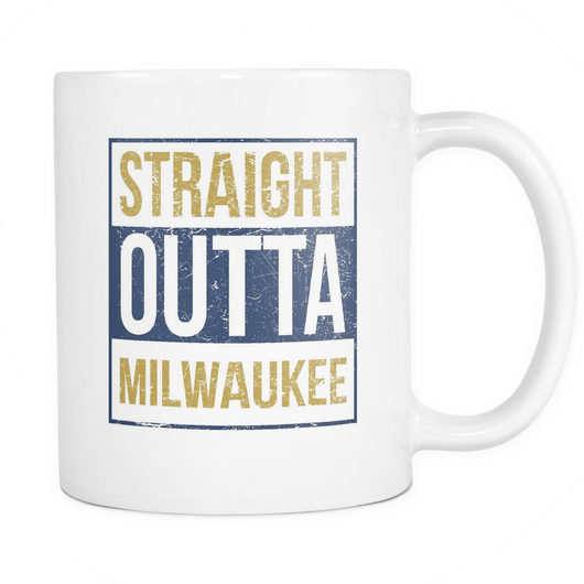 Straight Outta Milwaukee Baseball Coffee Mug, 11 Ounce