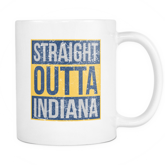Straight Outta Indiana Basketball Coffee Mug, 11 Ounce