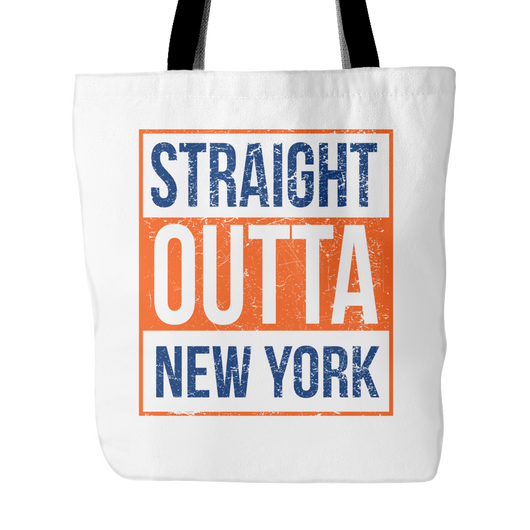 Straight Outta New York Baseball Tote Bag, 18