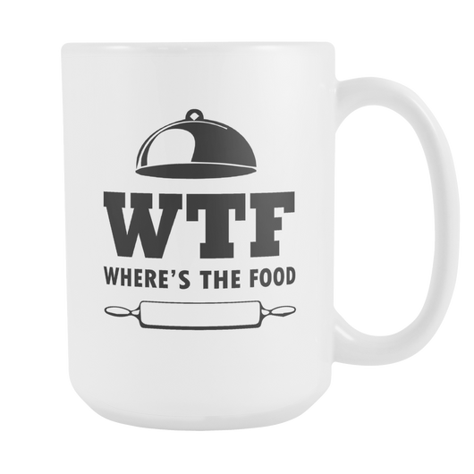 WTF Where's The Food Coffee Mug, 15 Ounce