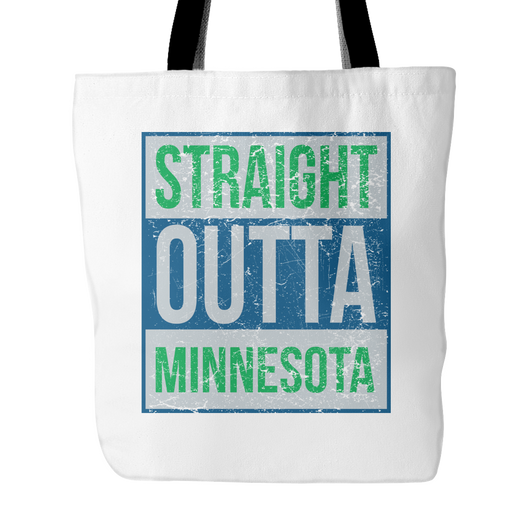 Straight Outta Minnesota Basketball Tote Bag, 18 inch x 18 inch