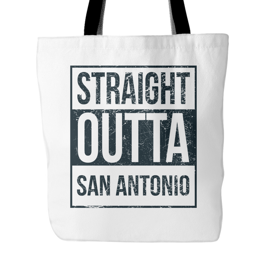 Straight Outta San Antonio Basketball Tote Bag, 18 in x 18 in