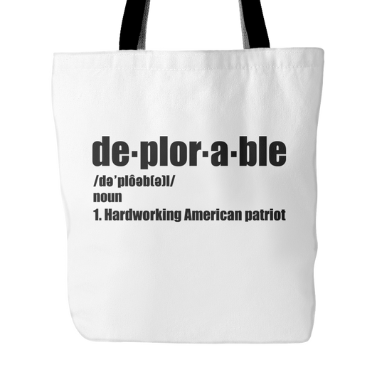 Deplorable American Patriot Tote Bag, 18 inches x 18 inchess