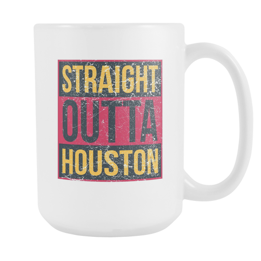 Straight Outta Houston Basketball Coffee Mug, 15 Ounce