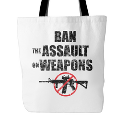 Ban The Assault On Weapons Tote Bag, 18 inches x 18 inches