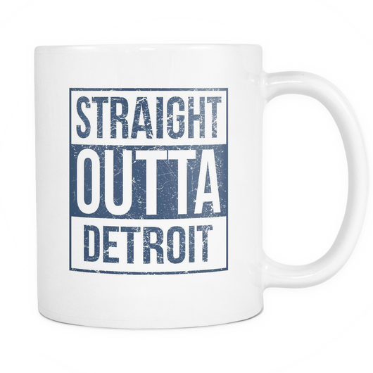 Straight Outta Detroit Baseball Coffee Mug, 11 Ounce