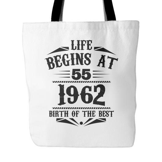 Life Begins At 55, 1962 Tote Bag, 18 inches x 18 inches
