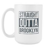 Straight Outta Brooklyn Basketball Coffee Mug, 15 Ounce
